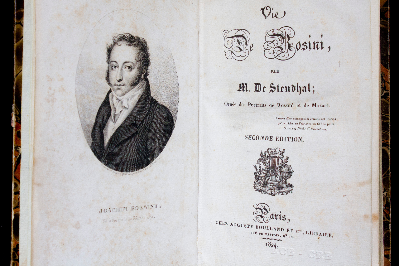 'Vie de Rossini', biography by Stendhal, Paris 1824, 2nd edition. FEM-815.